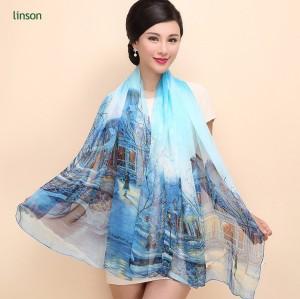 Fashion new design plain printed long style elegant lady scarf silk chiffon scarf