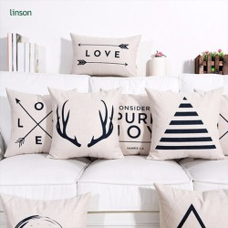 Wholesale European style black and white simple sofa chair cotton cushion cover decoration