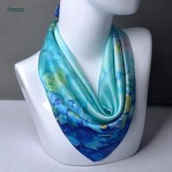 2018 new style silk square scarf plant printing 100% satin silk scarf