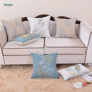 Custom cheap price hand embroidered home decor cotton linen cushion cover