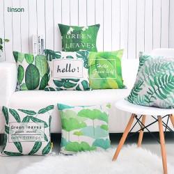 Custom design green leaf pattern plain linen sofa cushion cover
