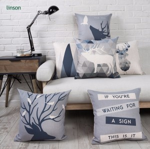 Latest design home decor digital printed 3D linen cushion cover