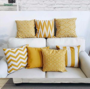Custom fashion home decoration yellow cotton linen cushion cover