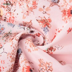 Factory direct high quality beautiful flower print satin silk fabric