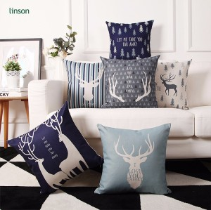 Wholesale custom cheap price 3D printed pattern linen cushion cover