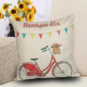 Wholesale custom cartoon hand painting bike printed pure cotton linen cushion cover