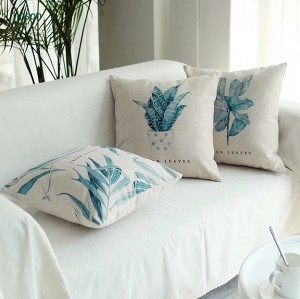 Factory direct high quality green plant digital printed cotton linen cushion cover
