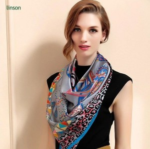 Custom luxury fashion lady 100% silk digital printed shawl satin scarf