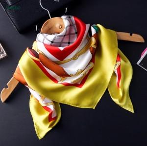 Hot sale high quality 100% silk crepe satin big square scarf