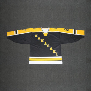 Yellow Japan custom ice hockey jersey V neck