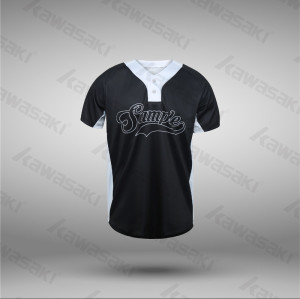 World custom baseball jersey black color 2 buttons style shirt