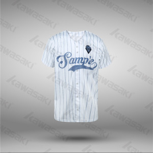 Kawasaki Blank Plain Design White Striped Baseball Jersey