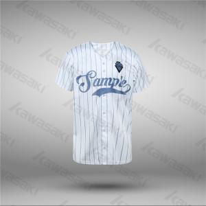 Kawasaki Blank Plain Design White Striped Baseball Jersey
