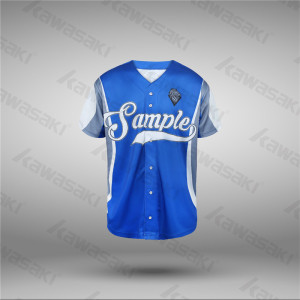 World Factory Sale Classic Blue Color Full Buttons Baseball Jerseys