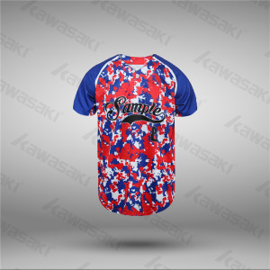 SAKURA camo design blue and red baseball jerseys polyester