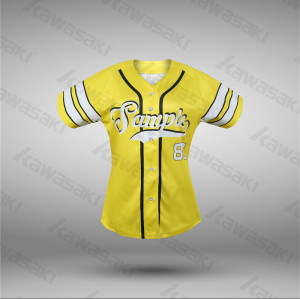Cute ladies polyester sublimation baseball jersey for women