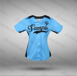 Classic ladies polyester sublimation blue baseball jersey for women