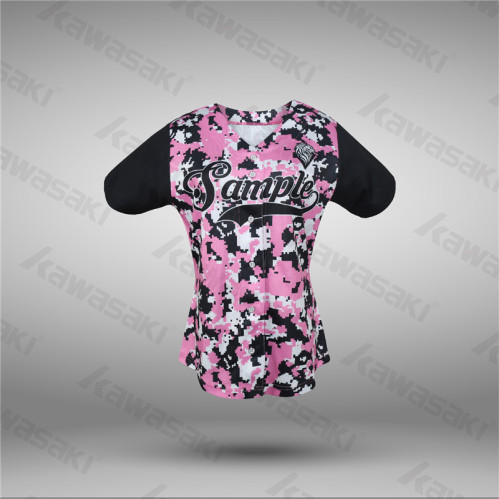 cb64a33cc Customized baseball shirt Pink color baseball jerseys for women ...