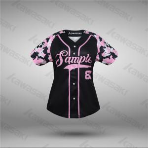 Pink color camo design sublimated raglan baseball jerseys for women