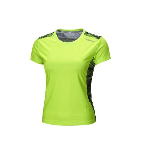 女性用蛍光グリーンの吸湿発散性Tシャツ