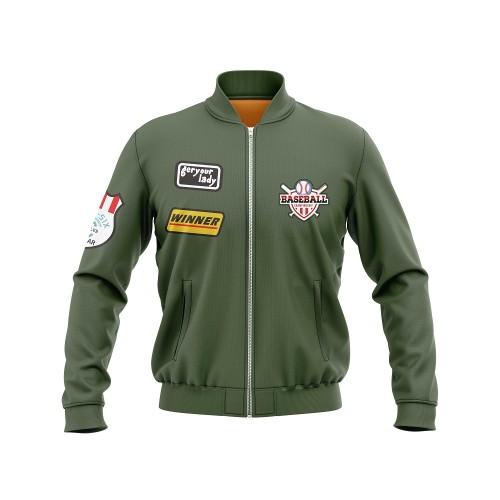 KAWASAKI Own Design Olive Green Men's Baseball Jackets   Custom Team Jackets   Design Personalized Sports Jackets