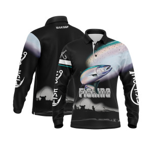 Hot Selling High Quality 100%polyester Breathable Custom Design Fishing Jersey Long Sleeve Fishing Wear