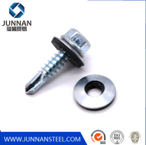 Hexagon Flange Head ROHS rainbow self drilling roofing screw with rubber washer