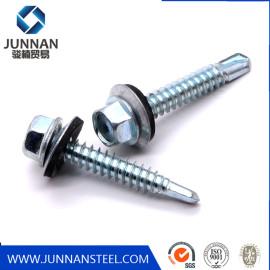 China wholesale galvanised metal hexagon head tek wood stainless steel hex self drilling screw with epdm washers roofing screw