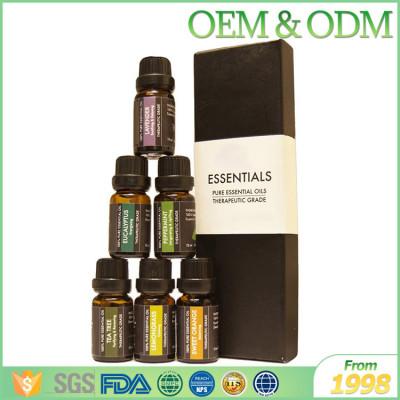 Free sample 100% pure 6pcs/set glass bottle essential oil set natural body massage oil
