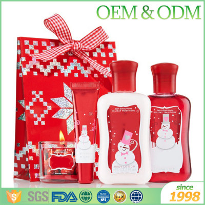 Hot selling cheap Christmas bath gift set holiday bath gift sets with pillow