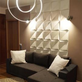 Art 3d white square Design PVC leather 3D Wall Panel