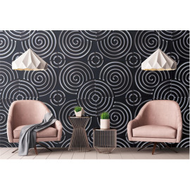 Circle design 3d Artificial leather hot design black 600x600mm wall panel
