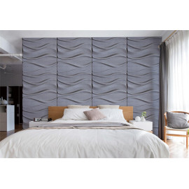 Wave design 600x600mm leather panel soft wall & ceiling covering