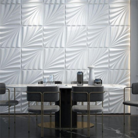 Luxury decoration for hotel lobby & Listed company Shell shape white wall decoration board