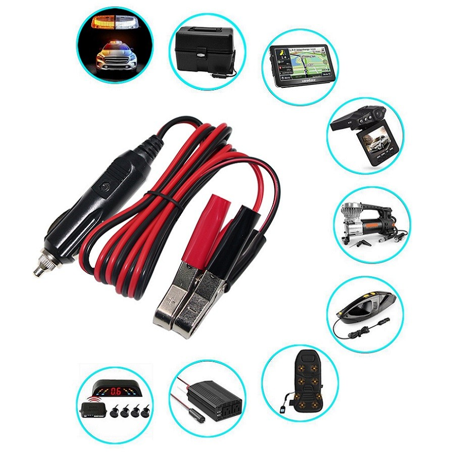 12V 24V Car charger battery jump starter cable Alligator Clips to Cigarette Lighter male Plug fuse 10A Car Battery Clip-on Extension Cable