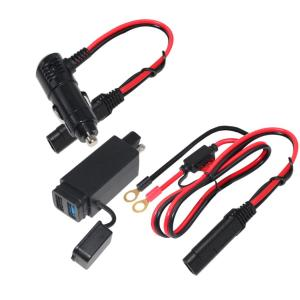 Waterproof Motorcycle 5V 3A 9V 12V 2A Dual USB QC 3.0 quick charge Charger Kit SAE to USB Adapter Cable Phone Tablet GPS