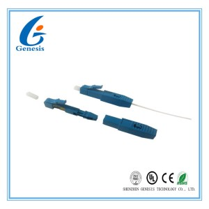 LC UPC Fiber Optic Fast Connector Pre - Embedded Blue For 0.9mm Tight Buffer Cable