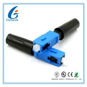 Quick Assembly Connector For Indoor Cable , Blue Optical Fiber Connectors SC / UPC