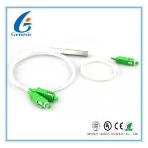 1 * 2 Bare PLC Splitter 250um , Superior Uniformity Passive Optical Splitter