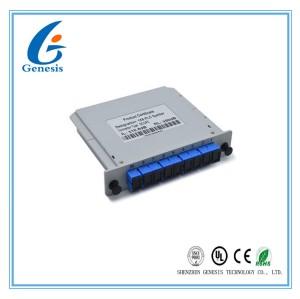 ABS Material Fiber Optic PLC Splitter 1X8 SCUPC Cassette Type Grey For WDM - PON