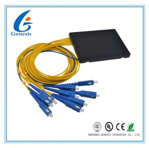 1X8 PLC Splitter With Black Cassette , Reliability PLC Optical Splitter For FTTB