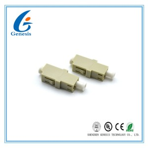 No Ear LC Fiber Optic Adapter MM SX Simplex Grey Ceramic Sleeve For FTTH