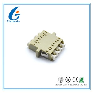 4 Core LC Quad Adapter For TFFH , Free Samples Beige Fiber Optic Connectors