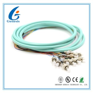 3 Meters Fiber Optic Pigtails Aqua OM2 / OM3 FC 12 Jacketed MM5010Gb For FTTH