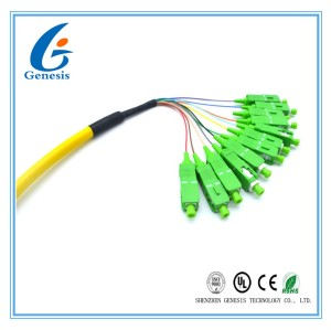 CATV / ODF SC Optical Fiber Pigtail 12 Core Bundle With Zirconium Dioxide Ferrule