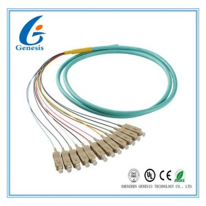 50 / 125 OM4 OM3 Optical Fiber Pigtail SC 12 Fiber Optic Jumper Cable With PVC Jacket