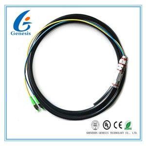 Outdoor Optical Fiber Pigtail SC / APC 2 Core Black Jacket For Local Area Network