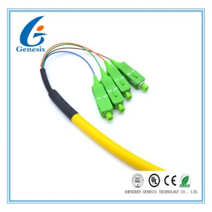 G657A1 SC / APC Pigtail Simplex , Yellow 4 Core Single Mode Fiber Optic Cable