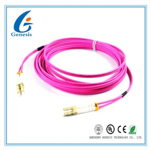 OM4 Fiber Optic Patch Cord 50 / 125 LSZH Jacket 3.0mm Purple For Test Equipment