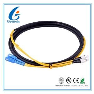 Armored SC - FC Patch Cord , SM Duplex Fiber Optic Jumper Waterproof / Sunblock